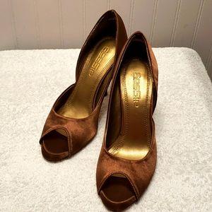 Gossip bronze colour satin peeptoe, 5